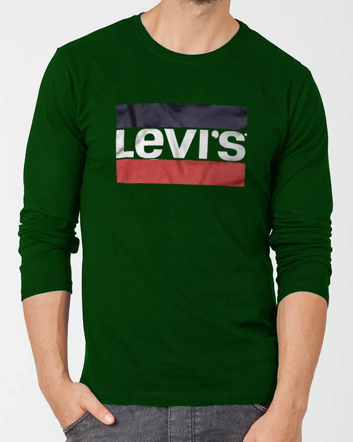 8bf1e9683 Levi s Green Round Neck Best Printed Summer Full Sleeve Tshirt