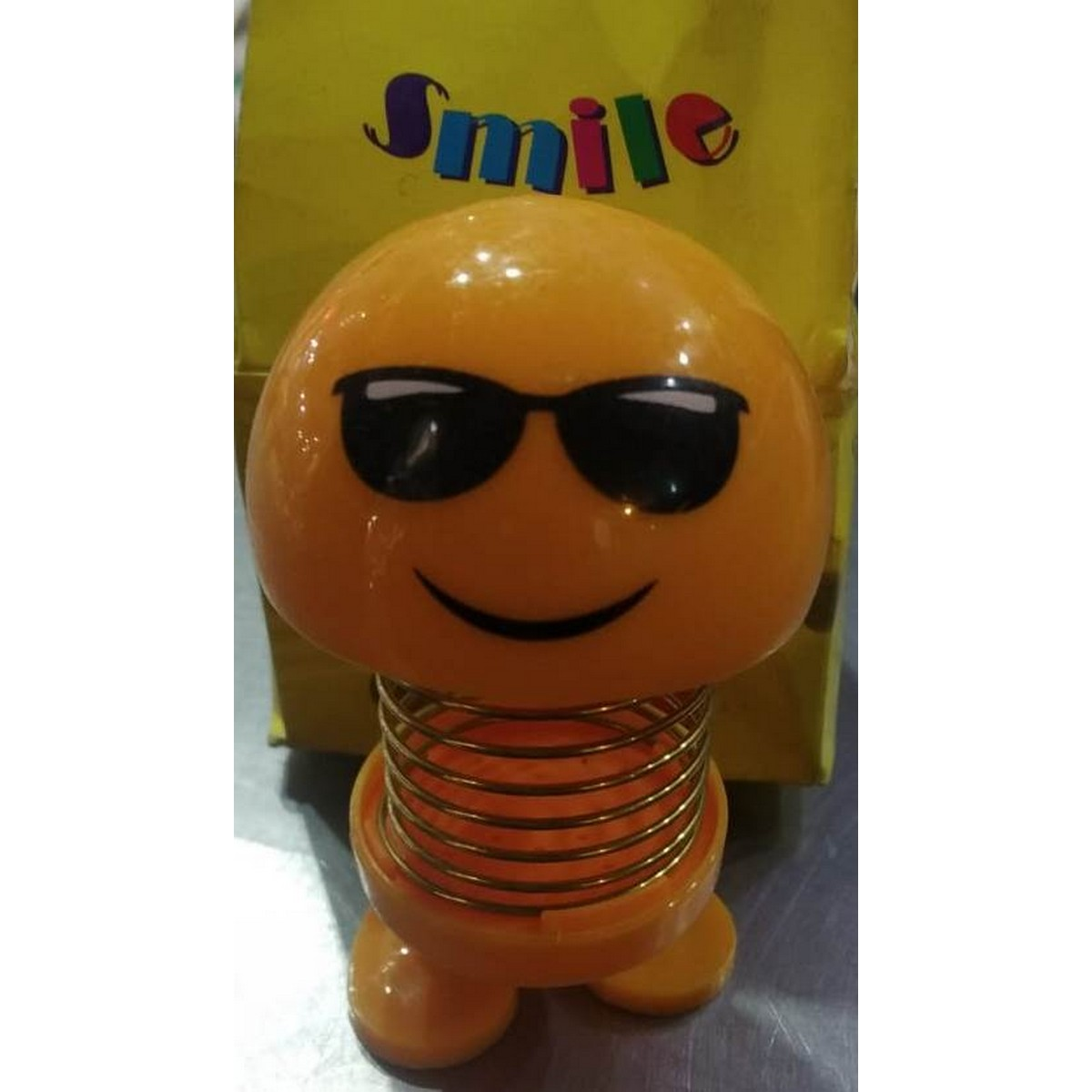 2 Piece Cute Emoji Mini Cartoon Funny Emoji Shaking Head Car Accessories Doll Funny Smiley Spring Dancing Toy Car Decoration ANY PIECE