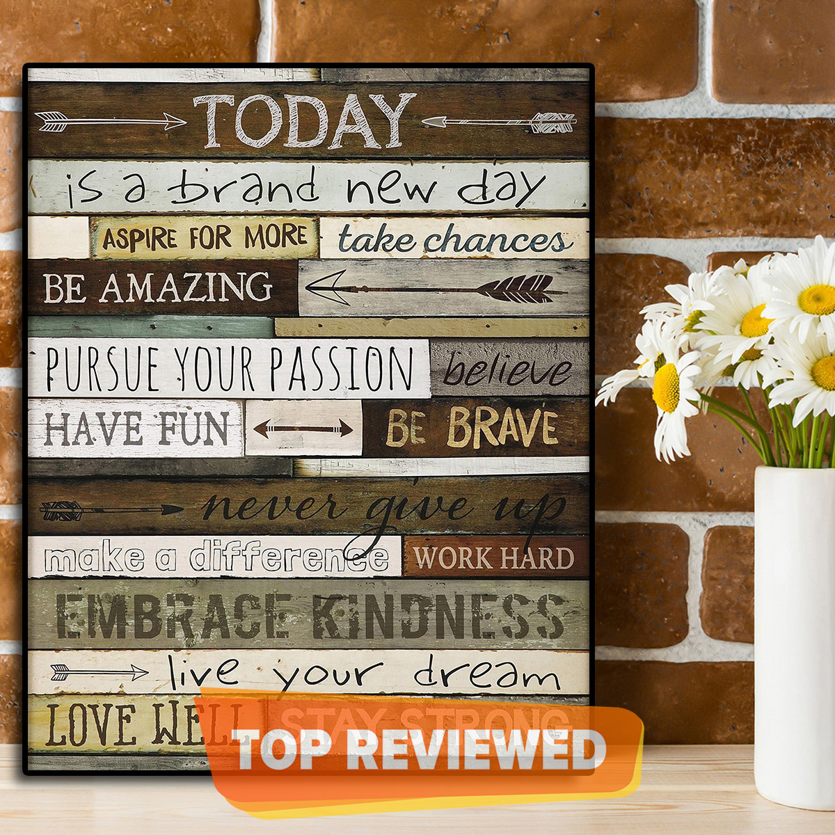 Wooden Motivational, Hope, Dreams, Brave Rules 8x10 inches Typography Frame For Wall Decor and Room Table Decor Office / Home / Gift