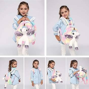 Exclusive Unicorn Plush Bag Toy Doll School Bags for Unicorn Bag/Unicorn School Bags for Girls/ Unicorn Soft Toys Plush Bag  (Multicolor, 5 L)