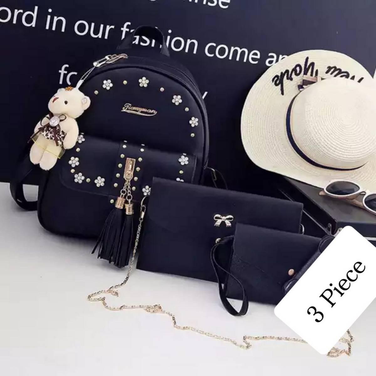 3pcs good leather women's ladies girls shoulder bag hand purse small,medium,large