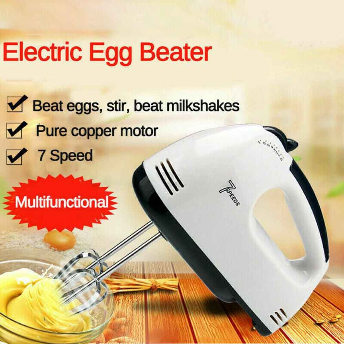Egg beater - Electric Egg Beater  -  Electric Hand beater - 7 Speed Hand Mixer Machine Cake Baking Beater Cream Hand Blender Kenwood Electric Hand Food Mixer HM 133