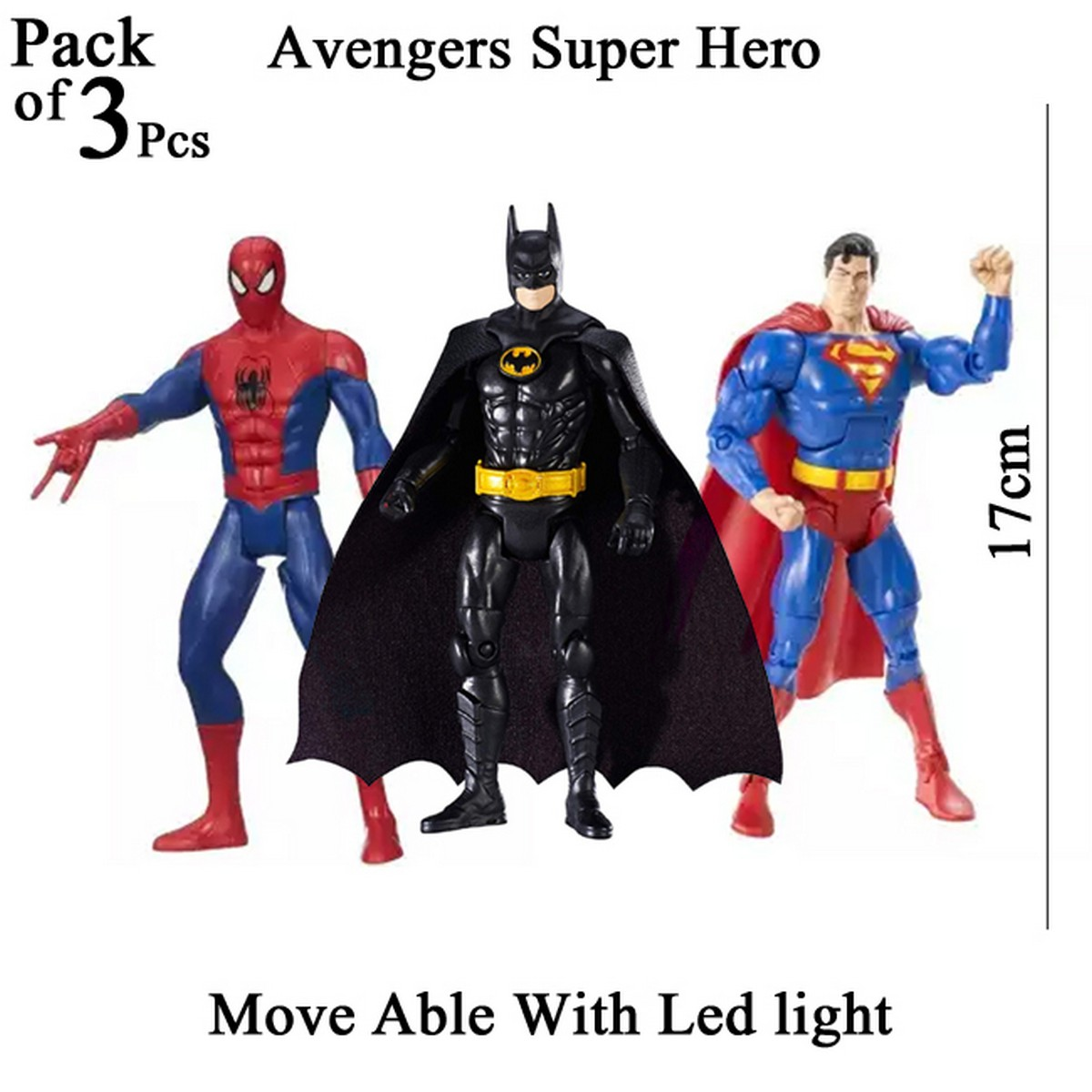 Pack of 3 pcs - Avengers Super Hero Action Figures With Led Light Toys For Kids and Boys Move able Spider Man Bat Man Super Man Spiderman Superman Batman