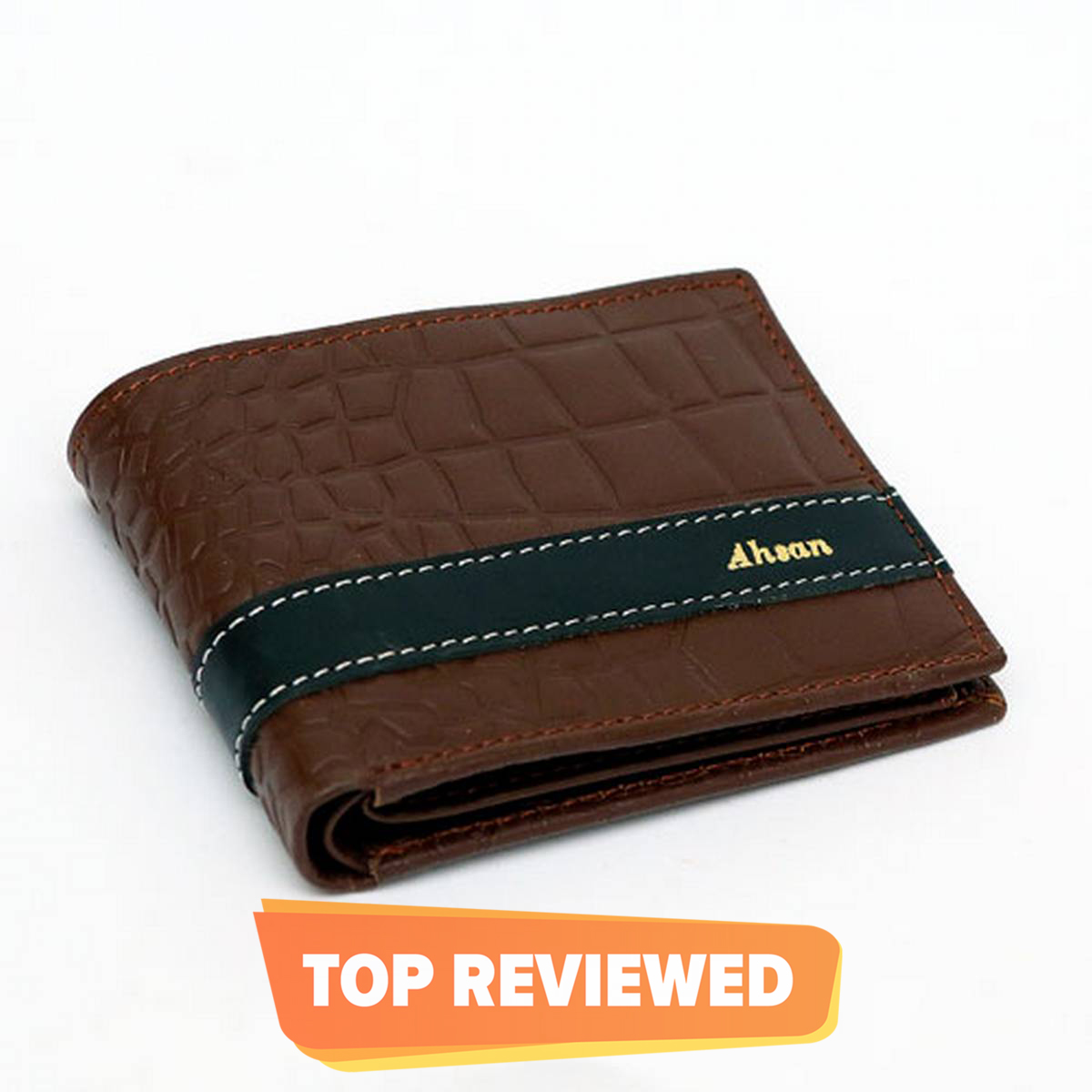 Customized Crocodile Design Leather Name Wallet With Beautiful BoxPacking