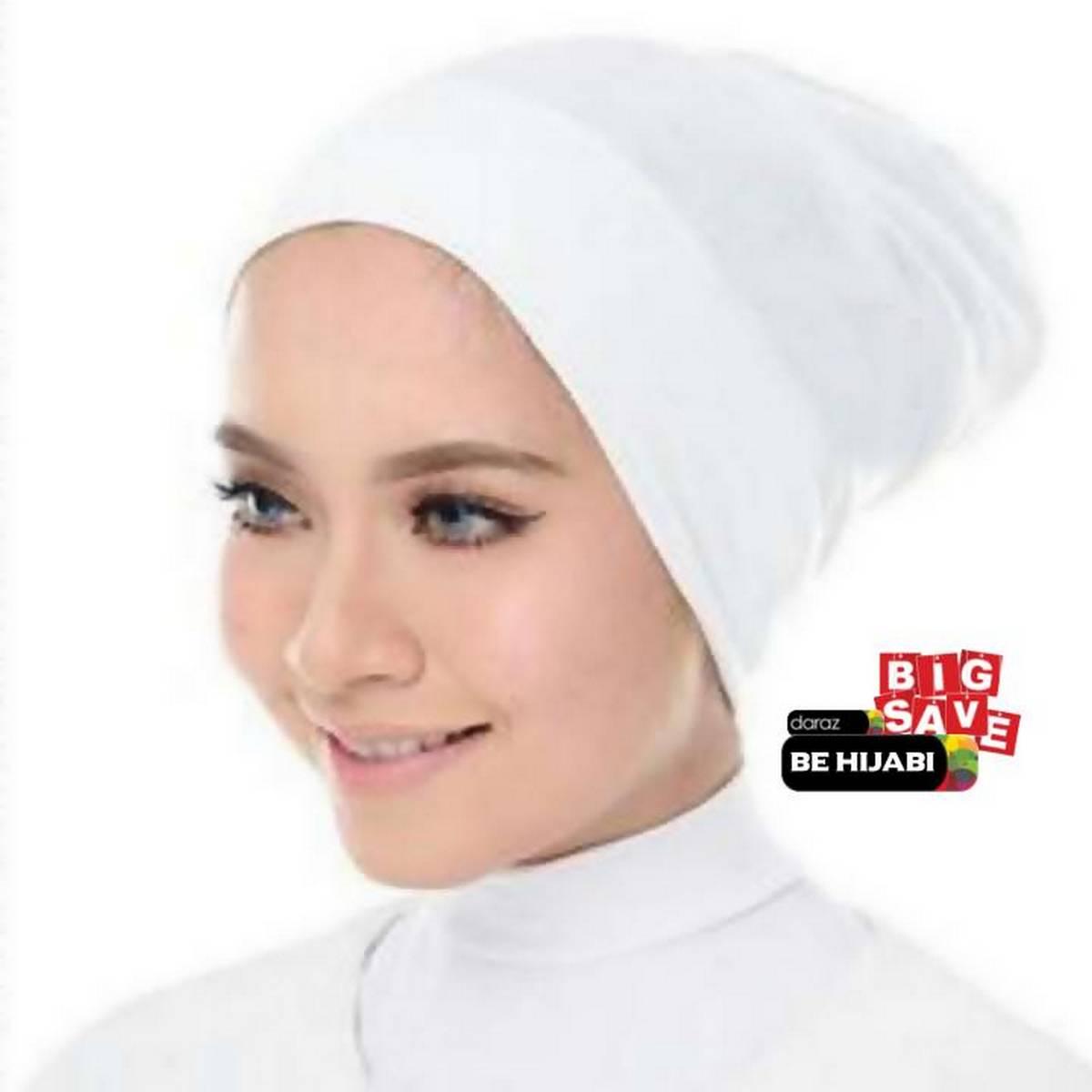 Plain White Muslim Headscarf Inner Hijab Caps Wraps Women Islamic Under Scarf Ninja Scarf Ramadan Stretch Cotton Bonnet Caps Full Cover Islamic Hat