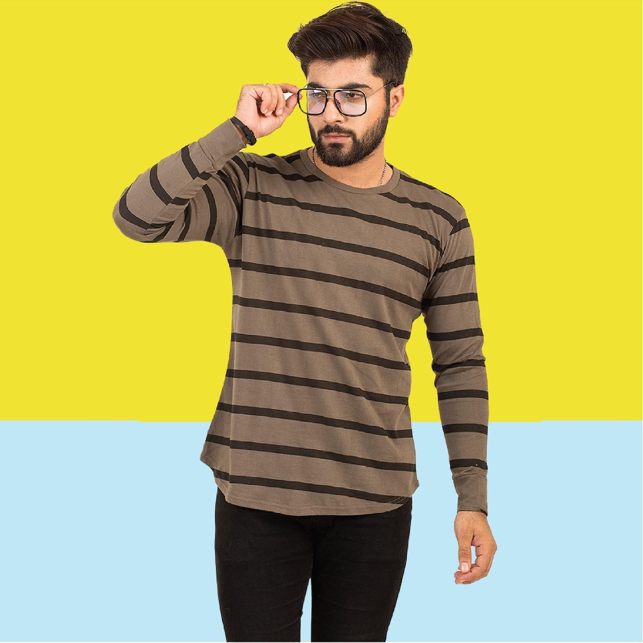 Paradise Zone Full Sleeves Dark Grey Tshirt For Men