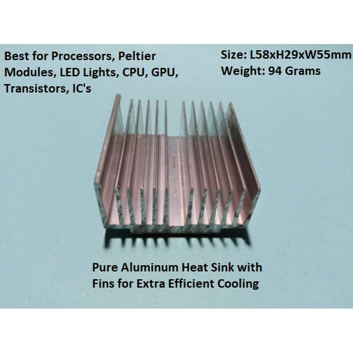 High Quality Pure Aluminum Heat Sink Cooler Cooling fin - Heatsink for Peltier, IC, LED's Transistor, RAM - Size: L58mm x H29mm x W55mm