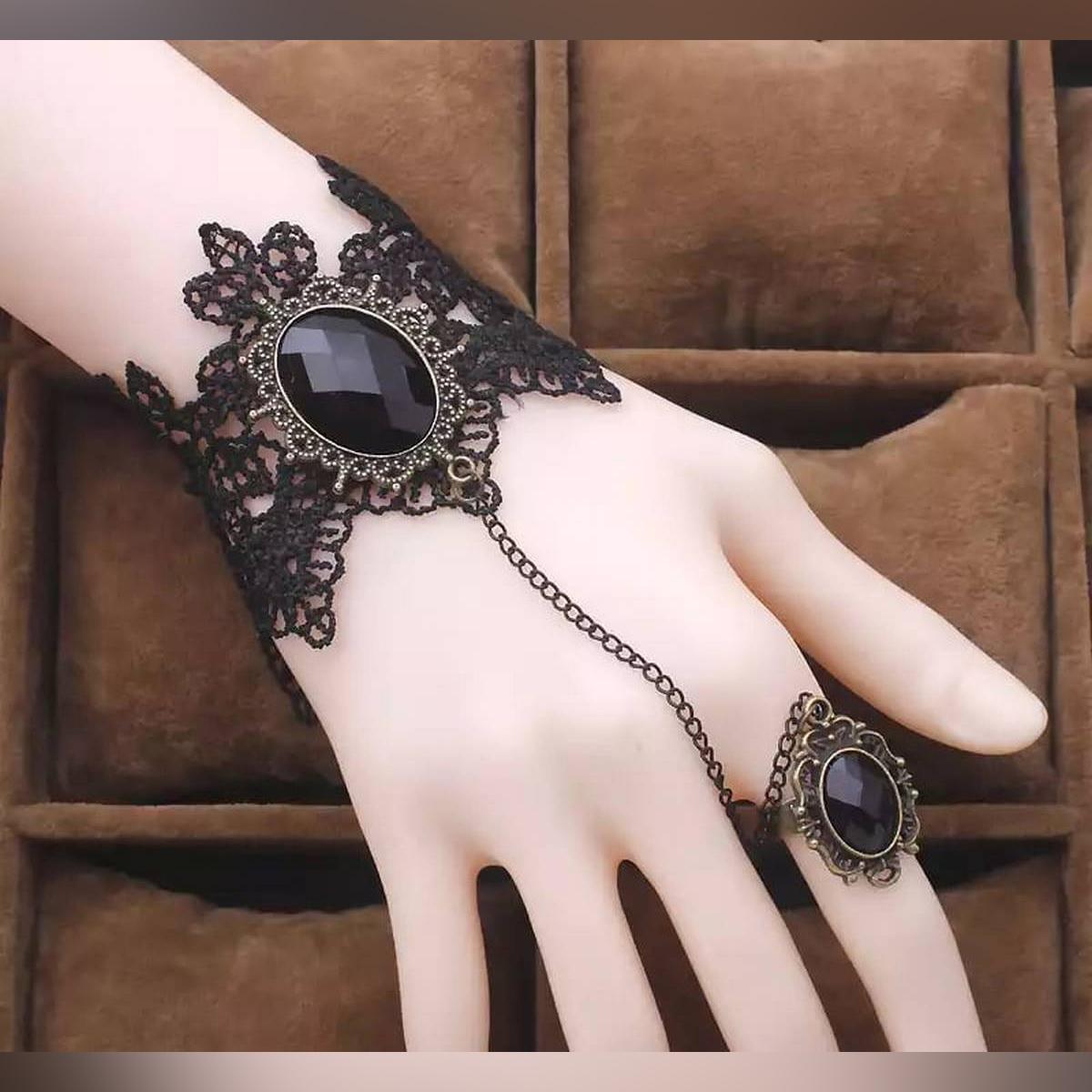 Black Lace Hot Ring Big Stone Bracelet For Girls