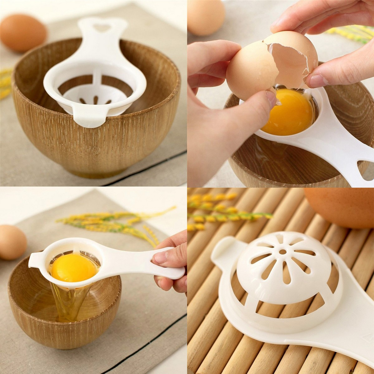 Egg Separator Cake Cooking Tools White Filter Sifting Processing Dispenser Baking Gadget Utensils Yolk Separation Essential Food Grade Material For Home Family Divider Cakes Pastry Bakeware Dividers Safe Practical Hand Kitchen Tool Easy Sieve