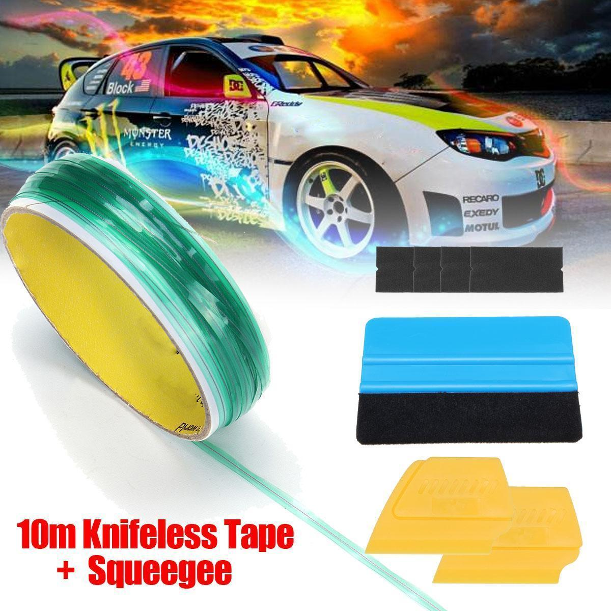 10M Knifeless Finish Line Tape Cutter Graphic Pro Vinyl Trim Cutting Wrap  Tool+2 pcs Squeegee+ 1 pcs Flannel Cloth for Car Vinyl Wrapping Film  Cutting