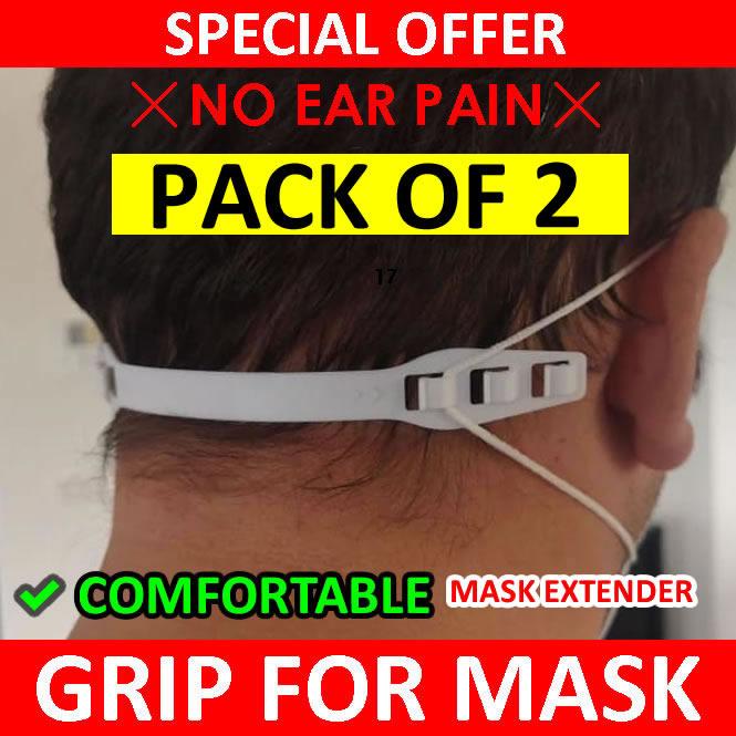 Pack of 2 Mask Grip Adjustable Straps - Mask Extender Relief for Ear Pain - Hook Holder Grips