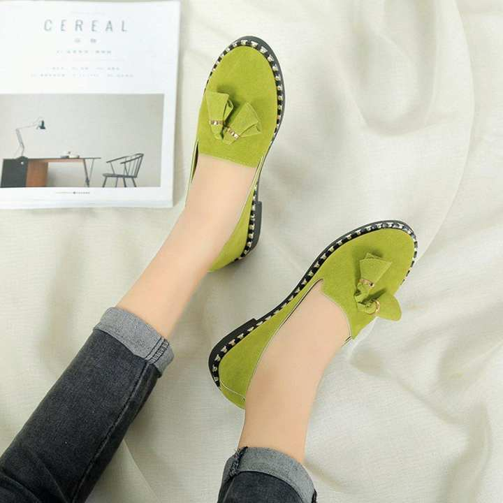 JO Autumn Women Solid Color Slip-on Shoes Casual Low-heeled Shoes with Bowknot - green 36