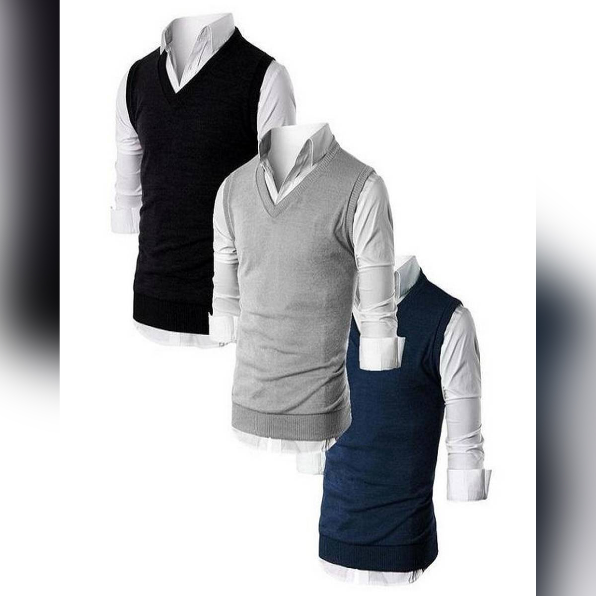 Pack Of 3 – Multicolor Fleece Half Sleeves Sweater For Men