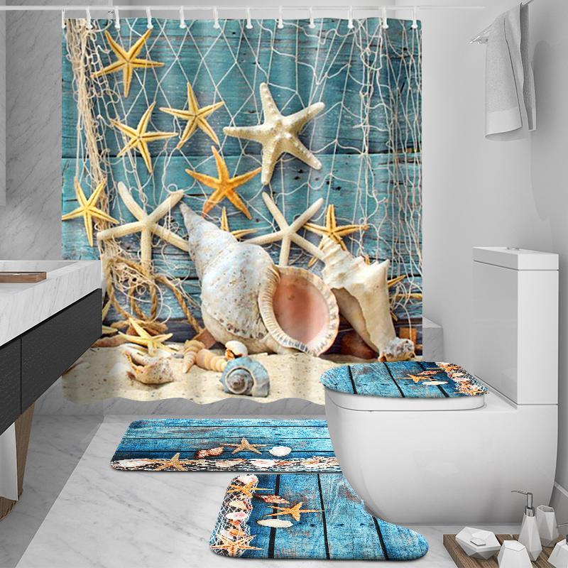 US Waterproof 1.8M Ocean Dolphin Sea Bathroom Shower Curtain Toilet Rug Mat Set