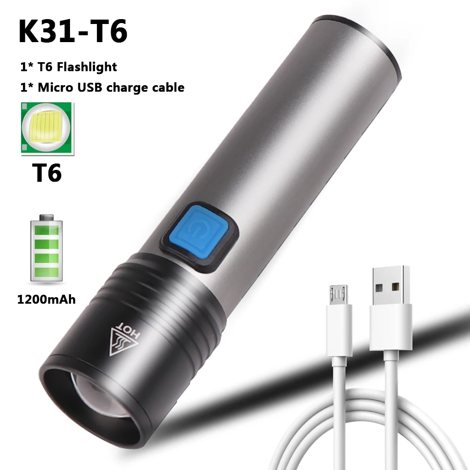 K31 Powerful T6 Led Flashlight Torch Zoomable Rechargeable LED Torch - Micro USB Charging with Cable and Case - Stainless Steel Design