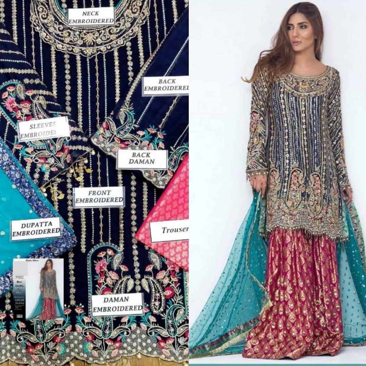 Anus Abrar Chiffon Embroidered Dress For Women