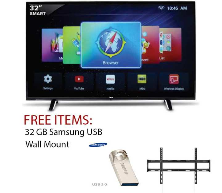 32 Inch UHD 4k Led Flat Smart Tv Double Glass-Black With