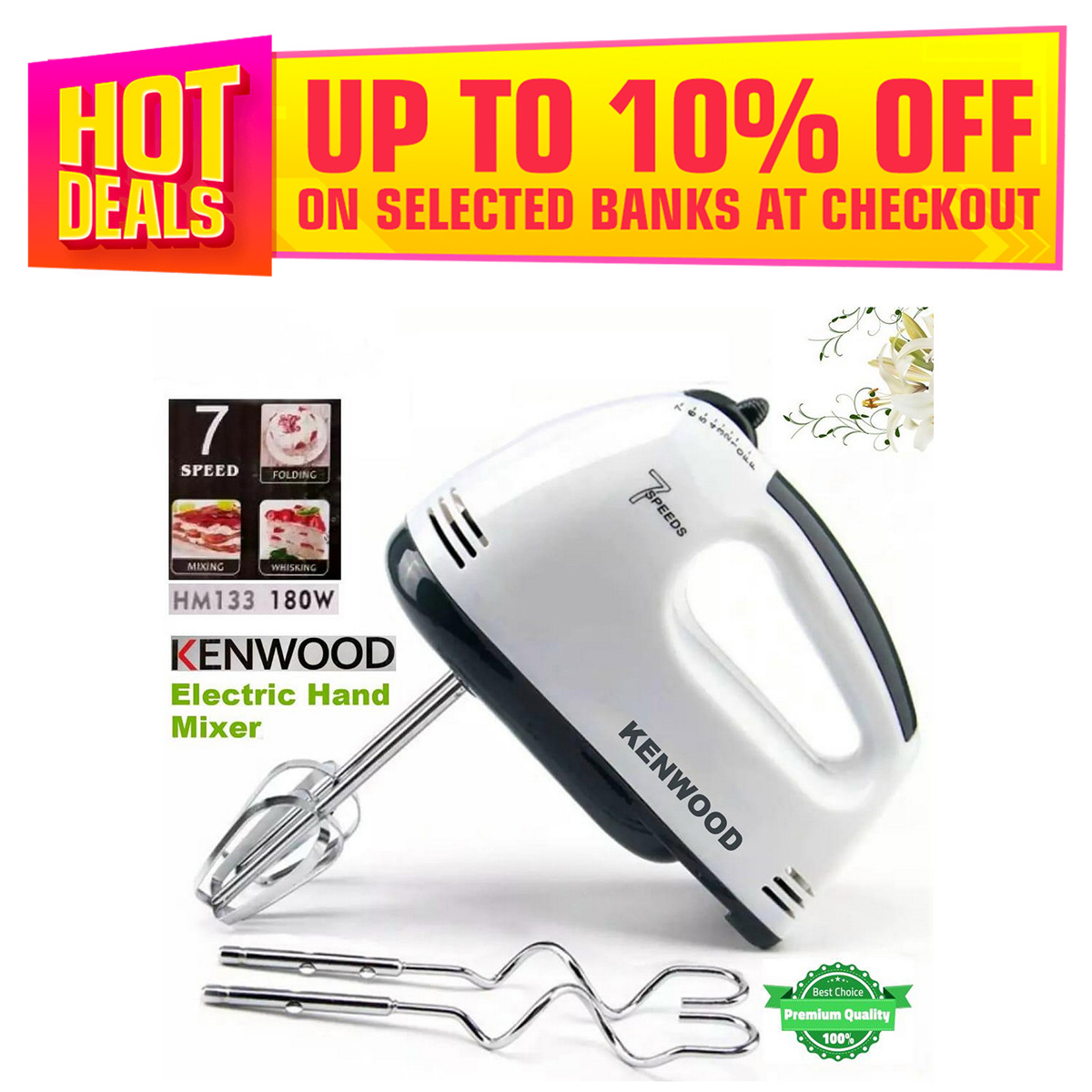 Kenwood Hm-133 Electric Food Mixer Handheld Egg Beater Blender, Electric Powered Hand Mixer Whisk Egg Beater Cake Baking Mains 7 Speed,