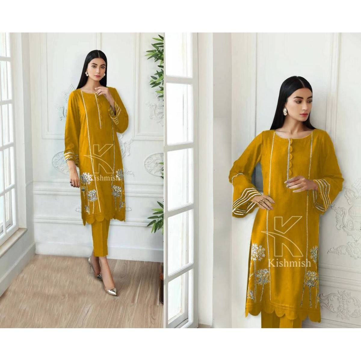 WPM Designer Embroidered Summer Suit (2 PCs) Kurta Shalwar for Women / Girls / Ladies (Bring you Style / Be in your Style - Party Fashion / Latest Summer Collection 2021) Ready to wear / Readymade (Limited Stock / Limited Time Offer Sale) New Year Sale