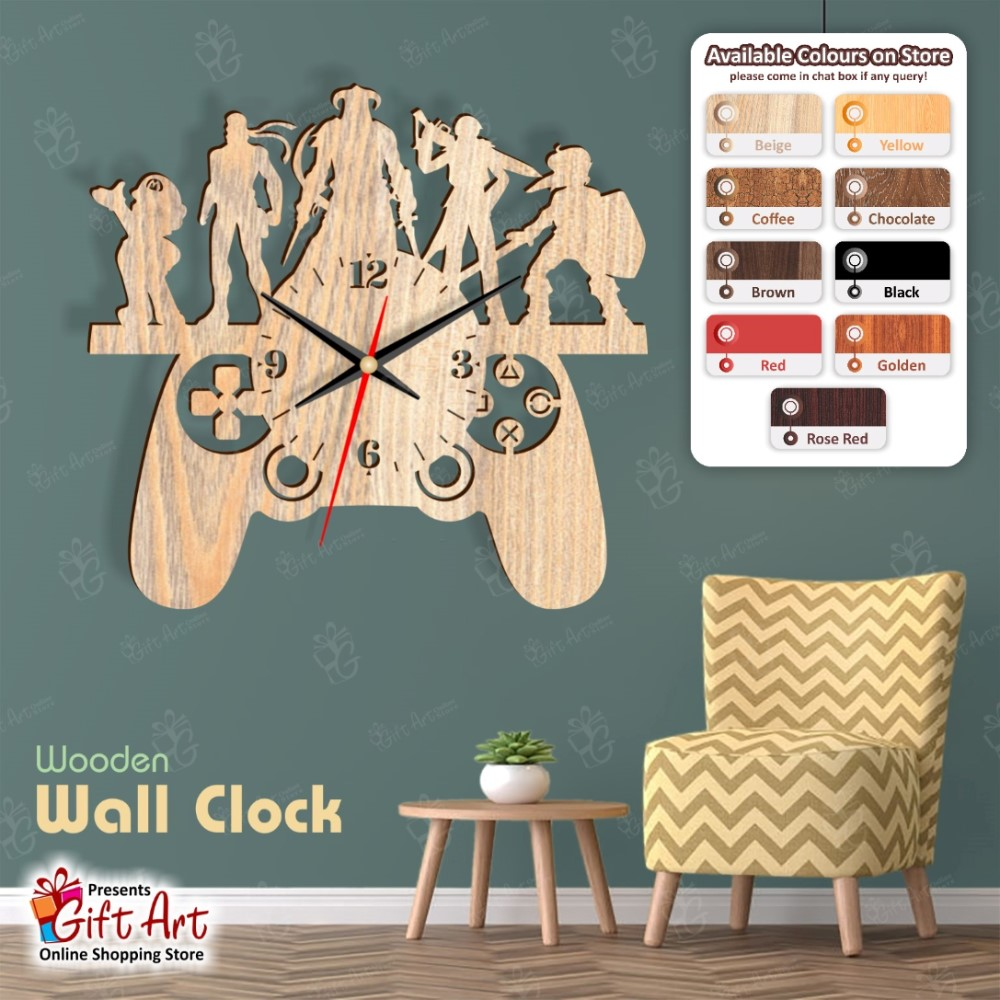 Gaming PUBG Wooden Wall Clock for Home Decor