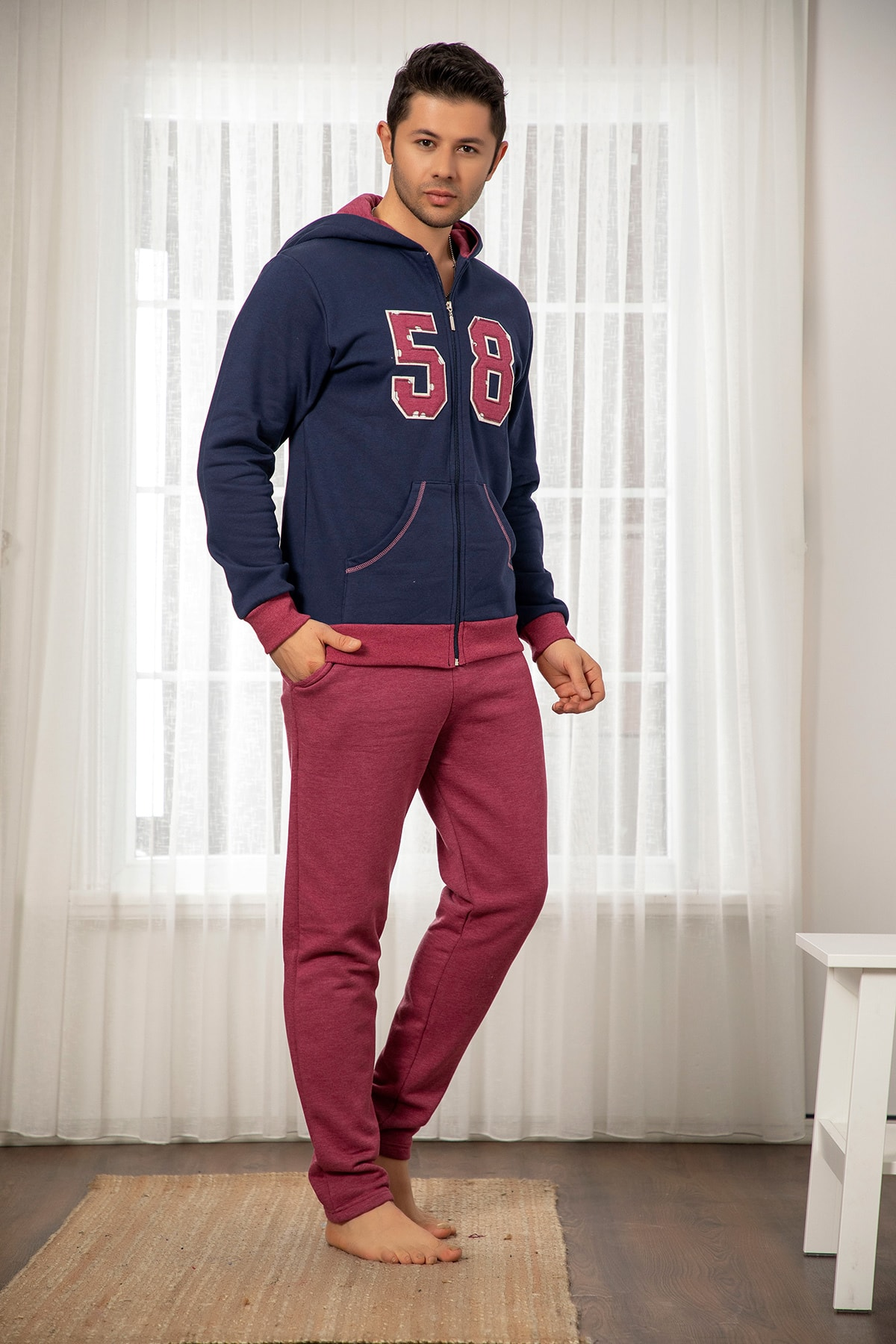 Siyah Inci Men's Navy Blue Cotton Lycra Hooded Tracksuit Set