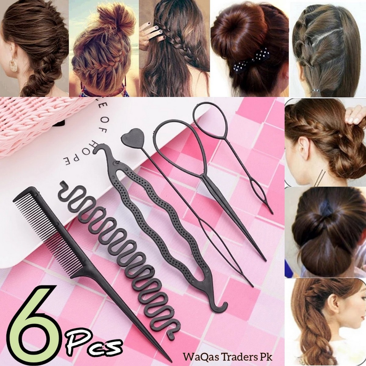Braids Tools with Zig Zag Pony Tail Makers (Set Of 6 Pcs) Professional Braids Tools Hair Styling Kits For Women Hair Accessories Set Women Girls DIY Hair Styling Set Kit Tools Accessories Pull Hair Needle Dish hair Comb Tools As Picture