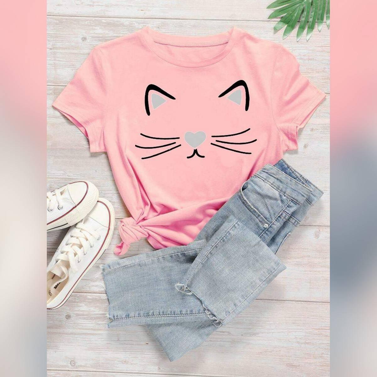 Meow Printed shirt Half sleeve for girls & Women
