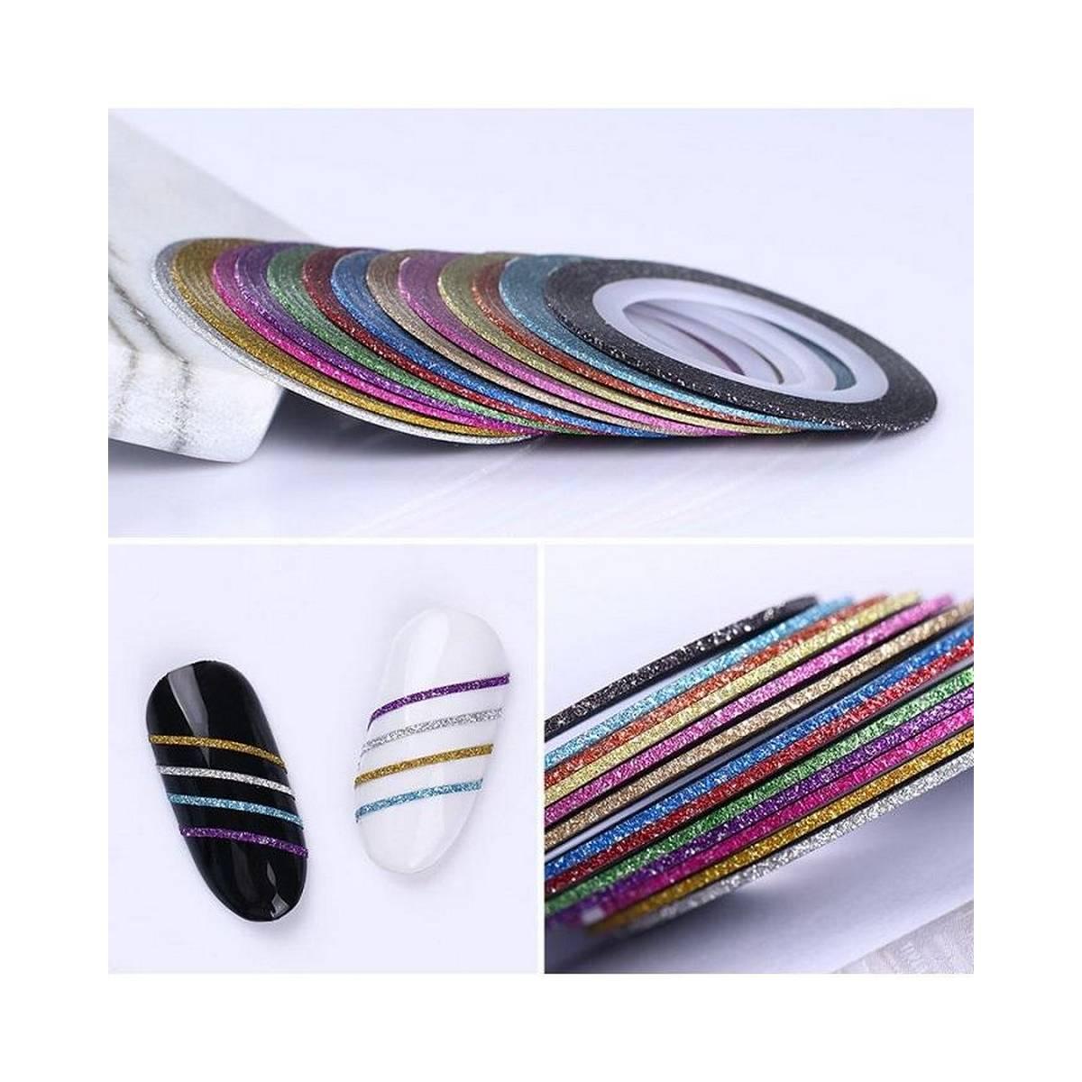 Set of 10 Rolls Glitter Nail Art Striping Tape (1mm)