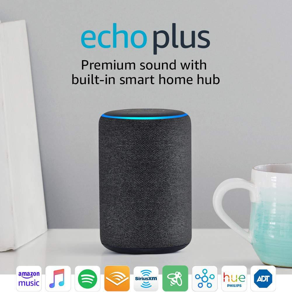 echo plus latest 2nd gen charcoal premium dolby sound with built in zigbee smart home hub. Black Bedroom Furniture Sets. Home Design Ideas