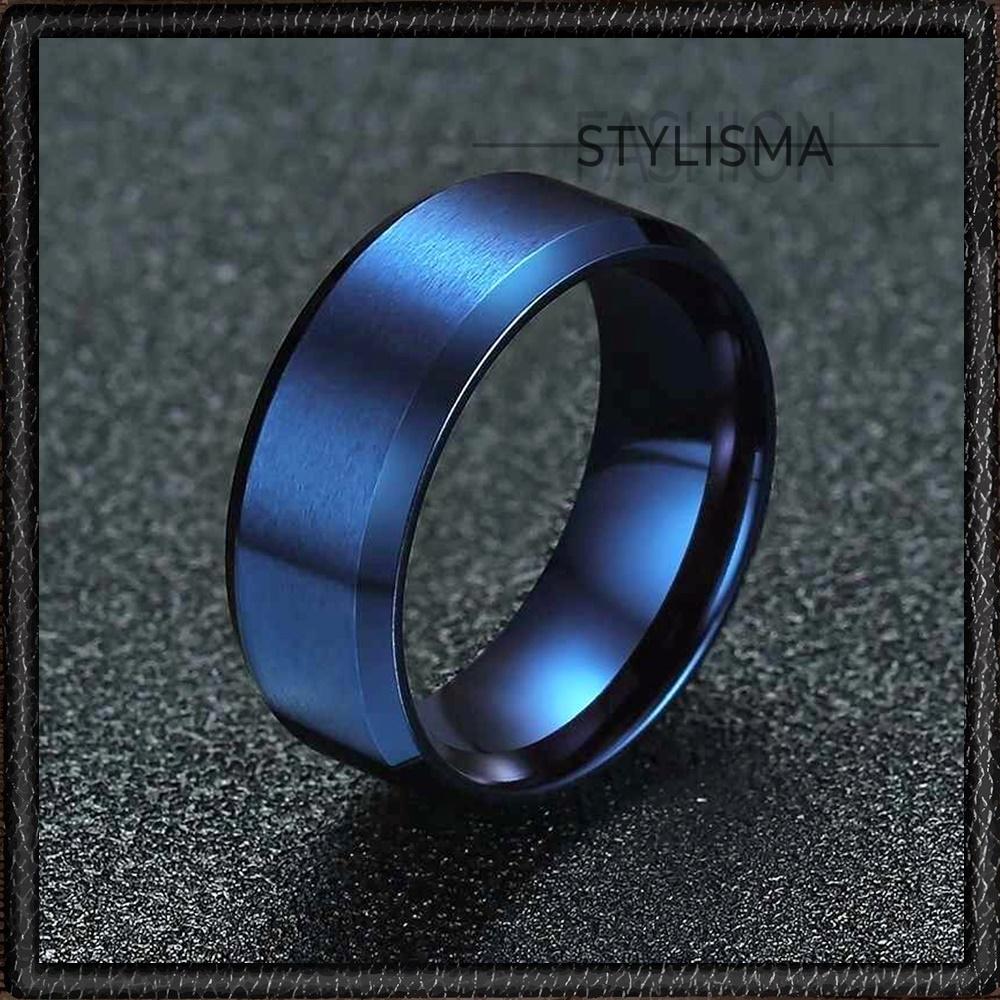 Stylisma Elegant Band Blue Stainless Steel Shiny Band Ring For Men