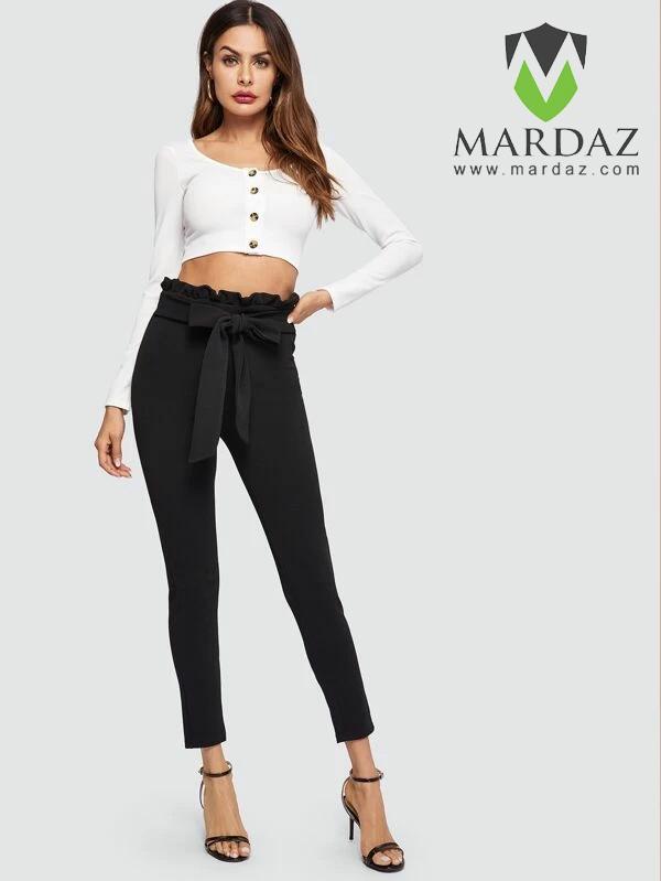 Mardaz Fashion Black Paper bag Waist Skinny Pants With Belt