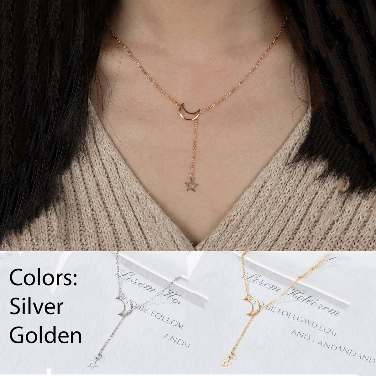 Moon Star Pendant Necklace Y Shape Style Alloy Fashion Stars Jewelry Bohemian Crystal Link Necklace