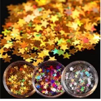 3 Box Laser Star Nail Sequins Sparkle Colorful Gold Silver Paillette Tips