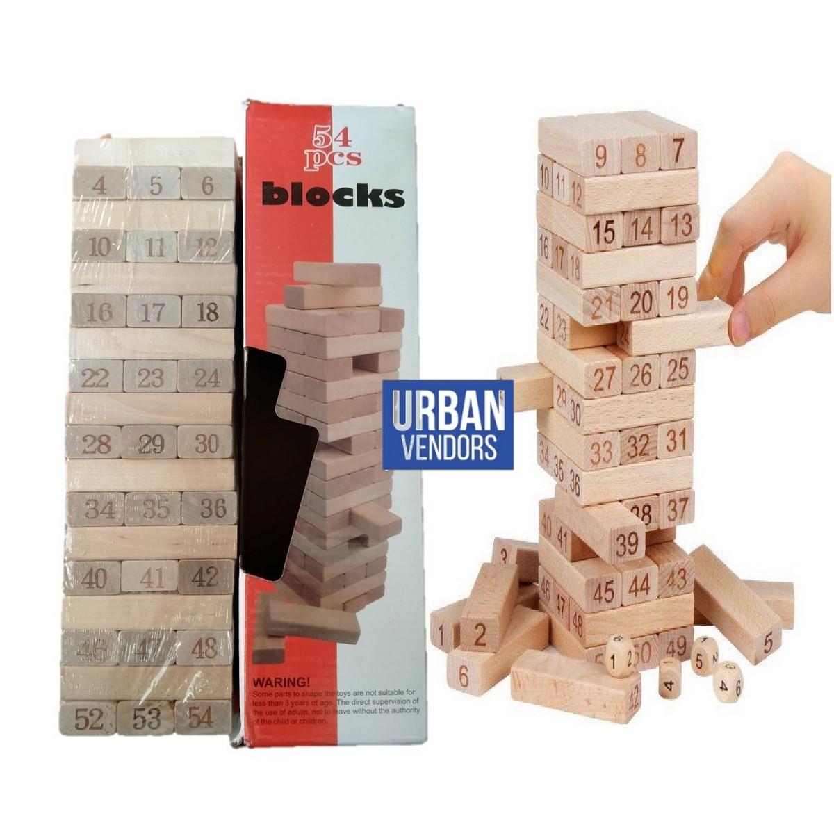 Jenga Wooden Blocks 54 Pieces with 2 Dice Kids & Adults Fun Board Game