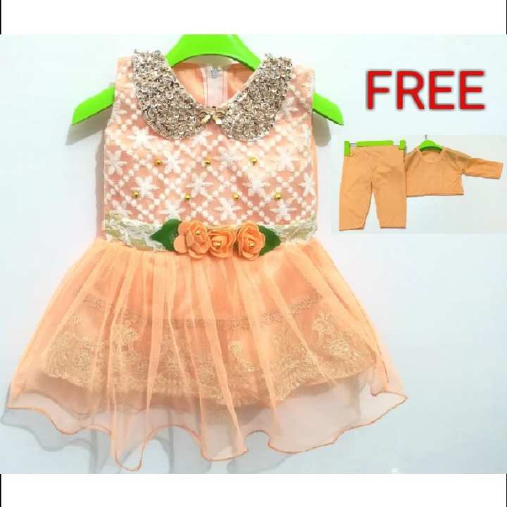 Baby Girls Elegant Frok With Free Inner Wear