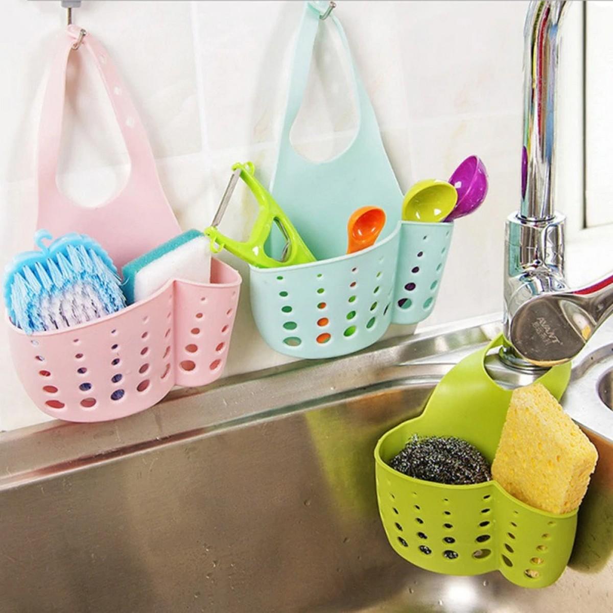 New 1pc Kitchen dishwashing cloth sponge storage bag sink soap holder portable home hanging drain bag tool storage basket
