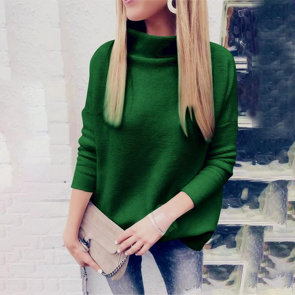 High Neck Solid Color Pullover Long Sleeve Loose Knitted Women Casual Sweaters
