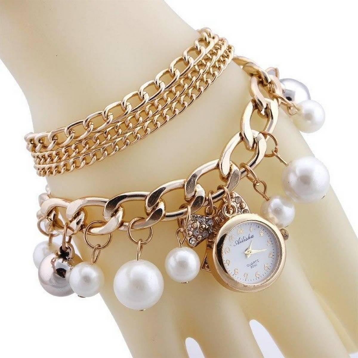 Gold Pearls Crystal Bracelet Watch For Women