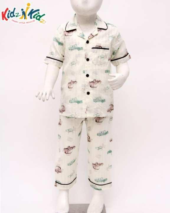 KIDZ N KIDZ Multi Checked Printed Cotton Sleeping Suit For Boys