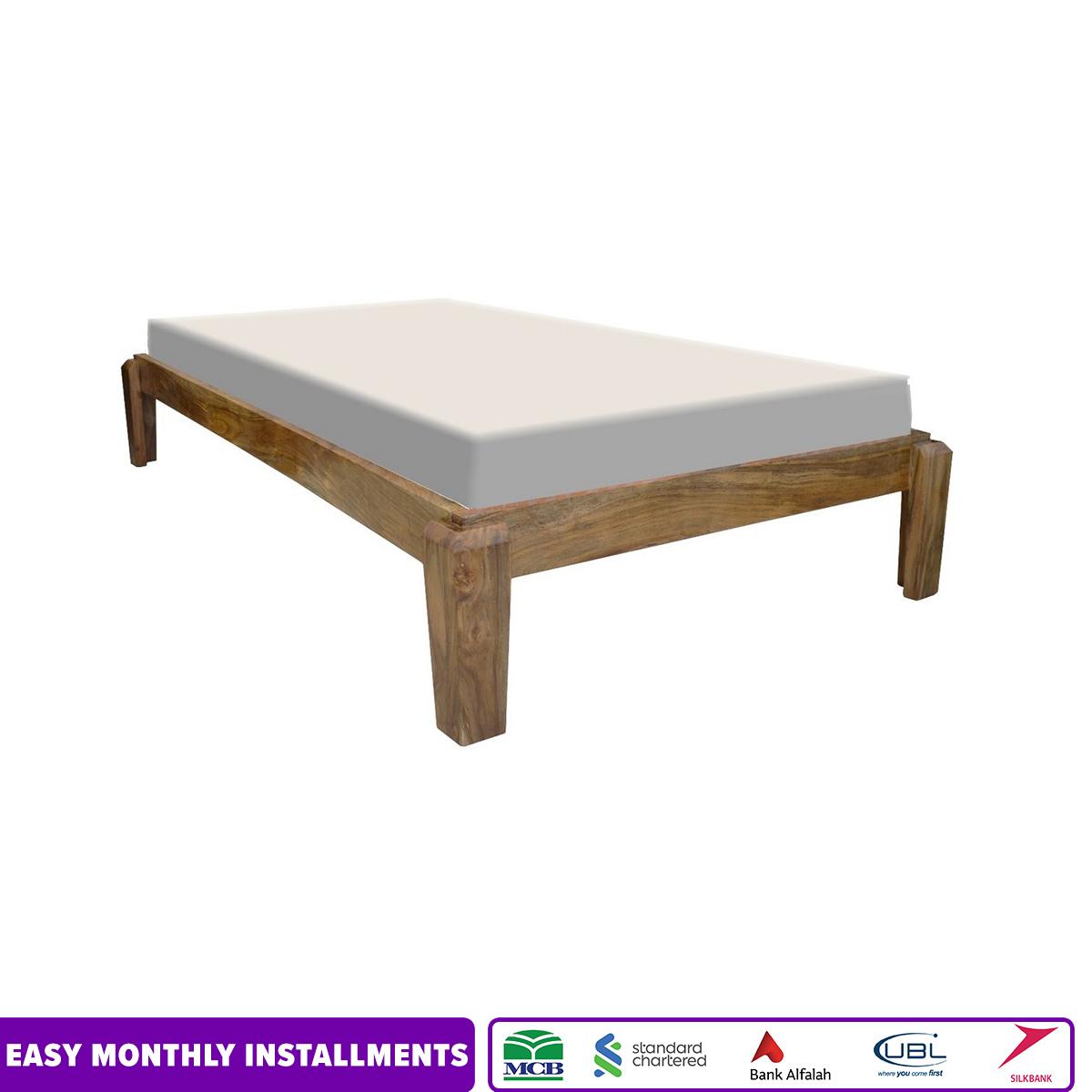 Single bed Wooden Single Platform Bed Natural Acacia Wood
