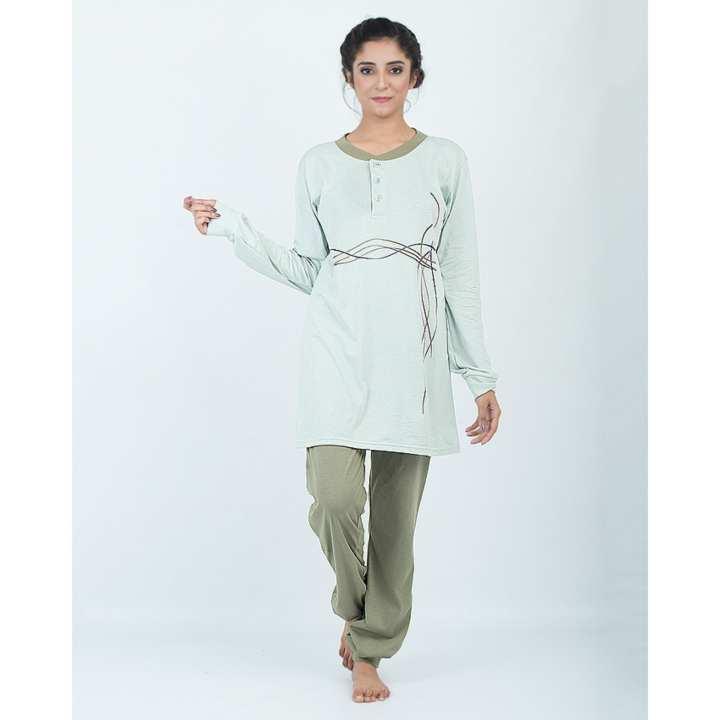 Rex Bazar - Light Green Waves Print Night Suit For Women