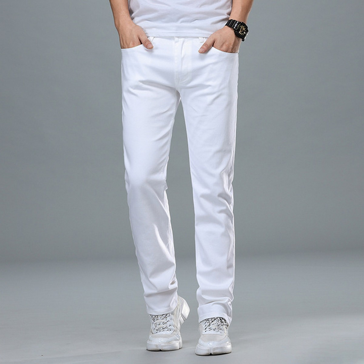 Cotton Jeans Pants for Men in White color and Decent Fabric