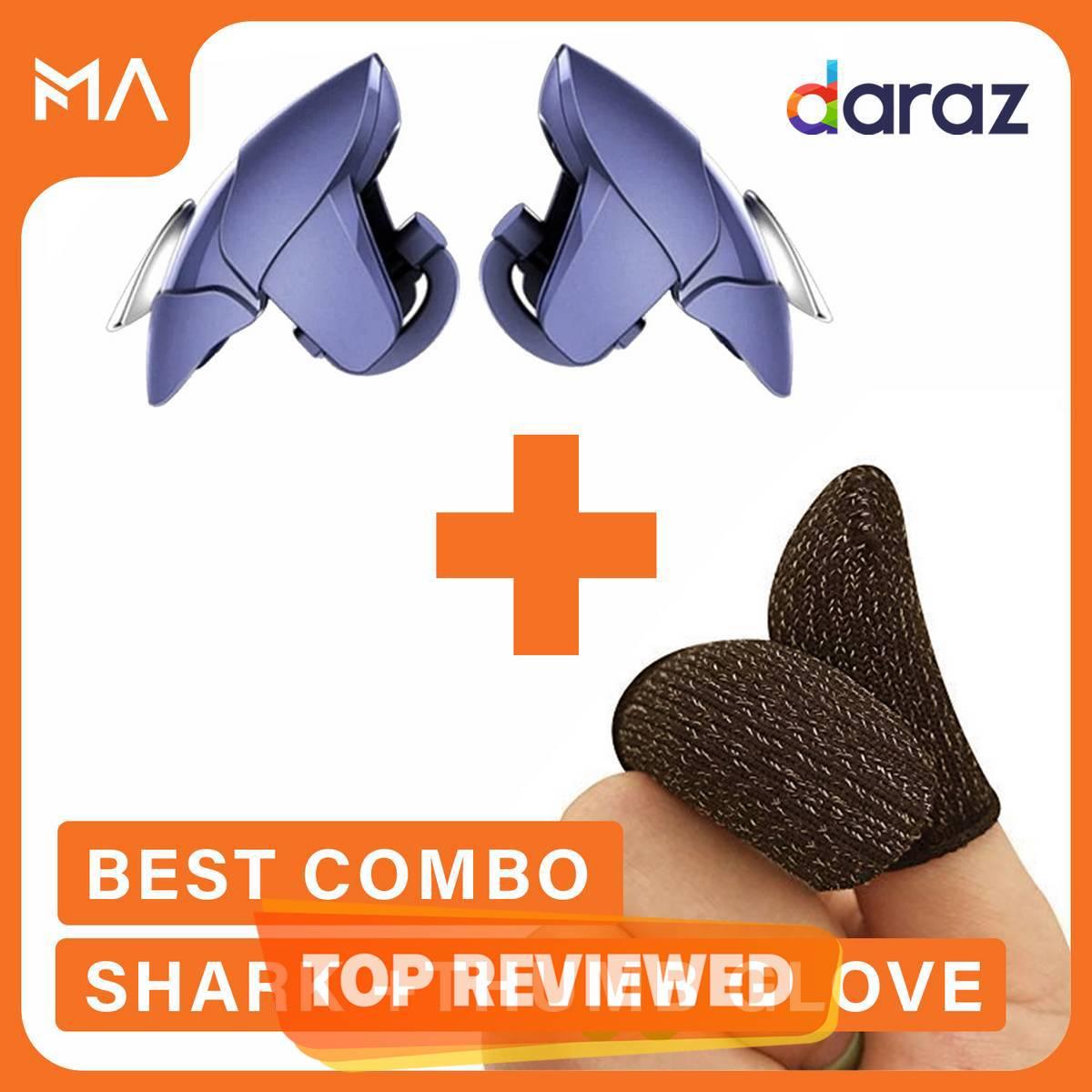 Blue Shark Trigger Triger + Thumb Gloves Sleeves For Pubg Mobile Controller Gamepad