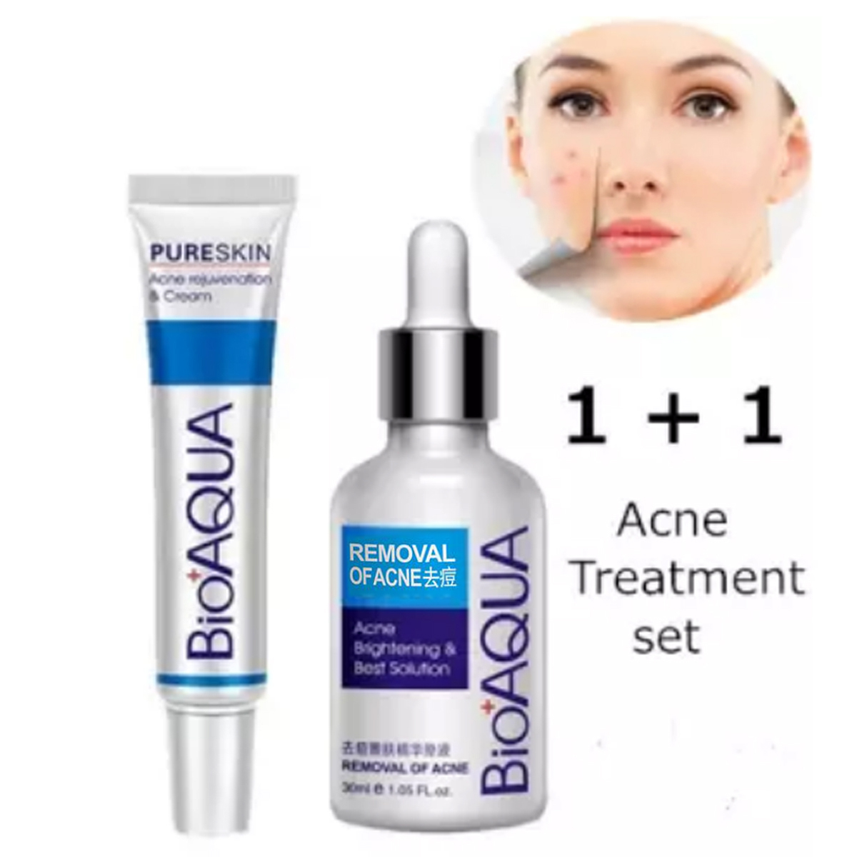 BIOAQUA 2 Pcs Anti Acne Removal Face Care Acne Treatment Set Acne Serum and Acne Scar Removal Cream
