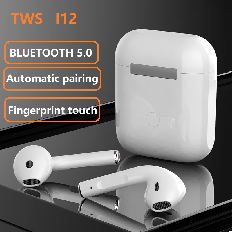 i12 TWS With SENSOR TOUCH High Quality Wireless ear pods Headphones Bluetooth Ear Pods Built in Mic Earbuds with Charging Case Noise Cancellation TWS i12 Stereo Earphones Auto Pairing Sport Headsets