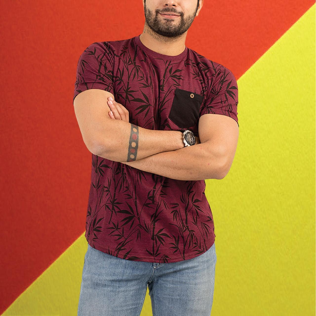 Short Sleeves Allover Leaf Printed Tshirt For Men Paradise zone