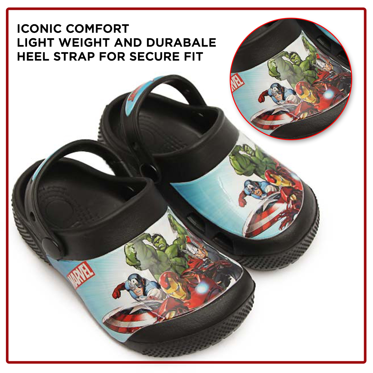 Marvel Heroes - Clog - 9133 - Black For Kids Summer Crocs Clog Slippers Sandals & Chappal For Your Kids - Non Slip Sandals Easy to Wear