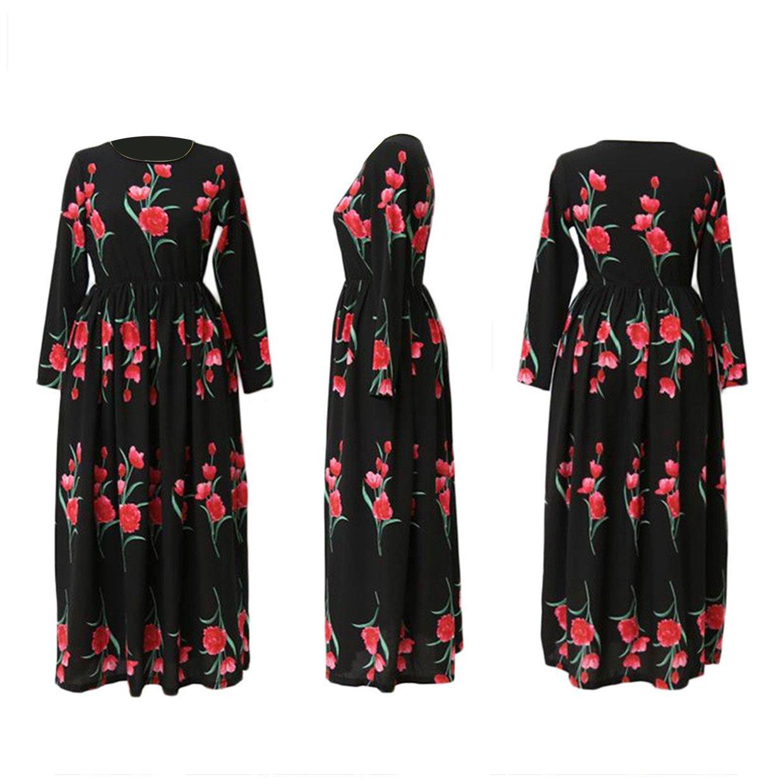 3ef2adb819 Fashionable Rose Printed Muslim Abaya Elegant Dress Long Robes Women  Clothing
