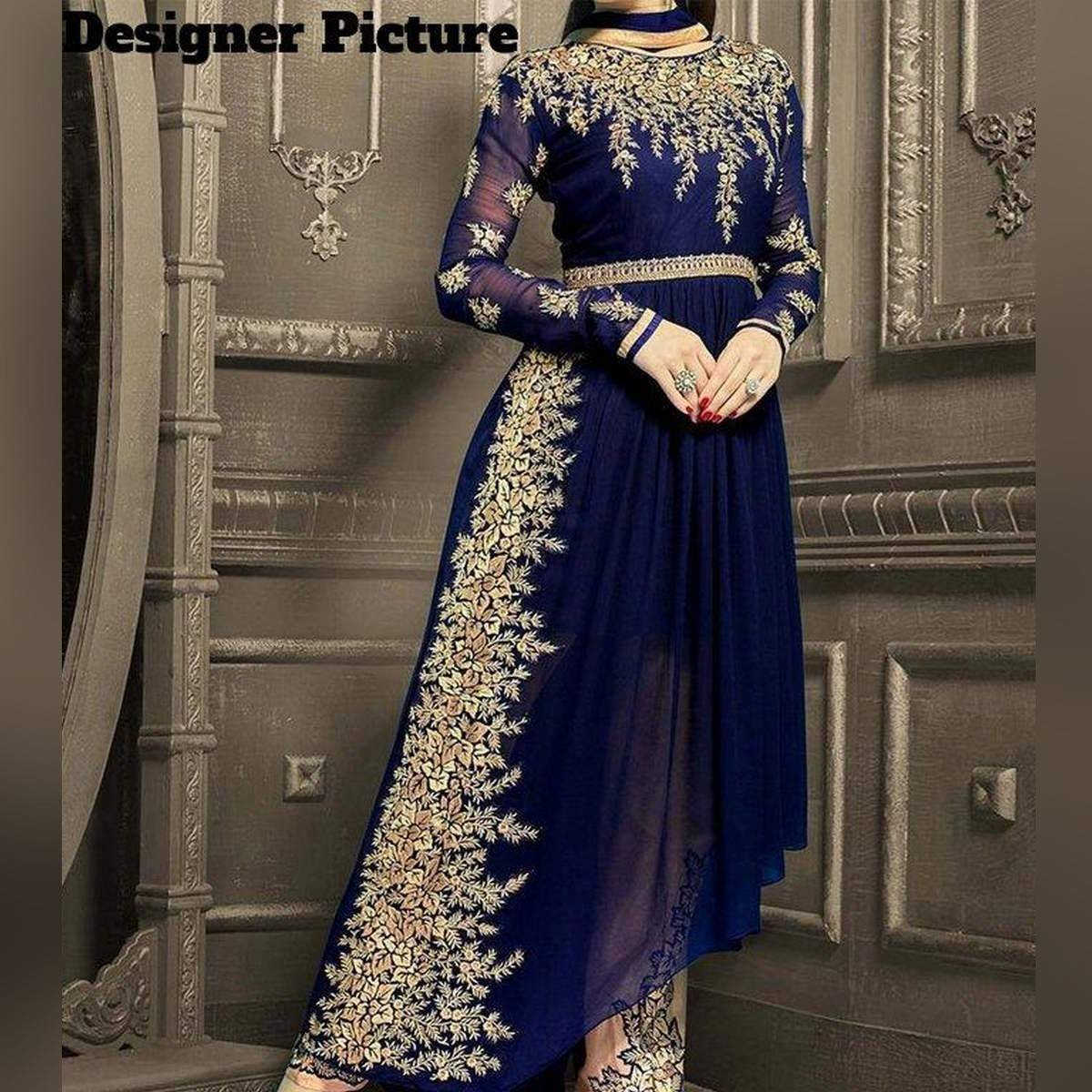 Blue Indian Embroidered 3pc Unstitched Suit for Women - CHI-33