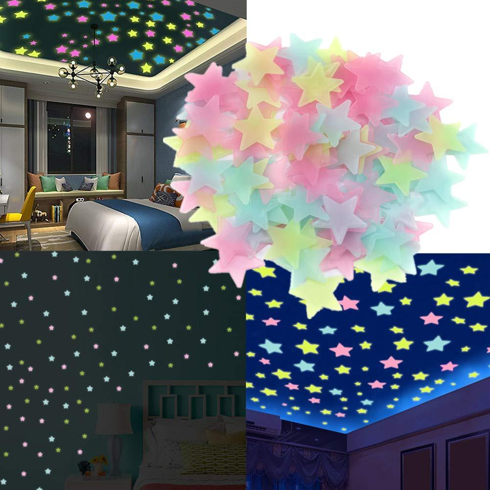 Star Stickers Multicolored 100 pieces For Rooms Decor - Luminous  Fluorescent Star